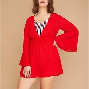 SWIM BY CACIQUE lane Bryant red cover up 18/20